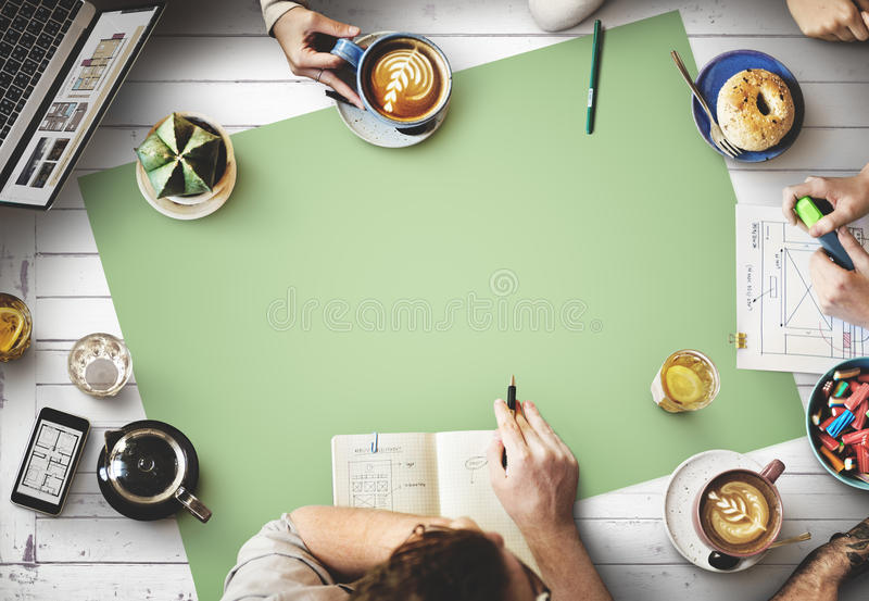 Rengöringsdukdesign Team Working Planning Website Concept royaltyfria bilder