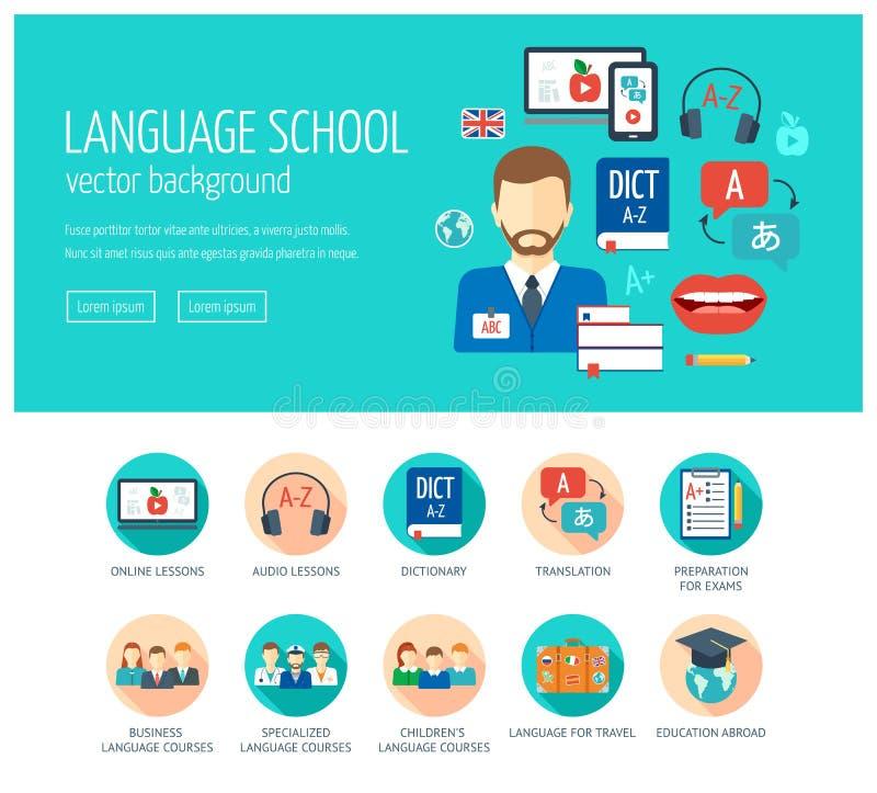 Rengöringsdukdesignbegrepp för website och landningsidan för skola och kurser för utländskt språk Illustration i vektor Plan desi stock illustrationer
