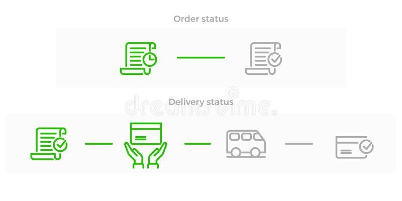 Rengöringsduken för logistik för beställningsleveransvektor shoppar linjen symbol vektor illustrationer