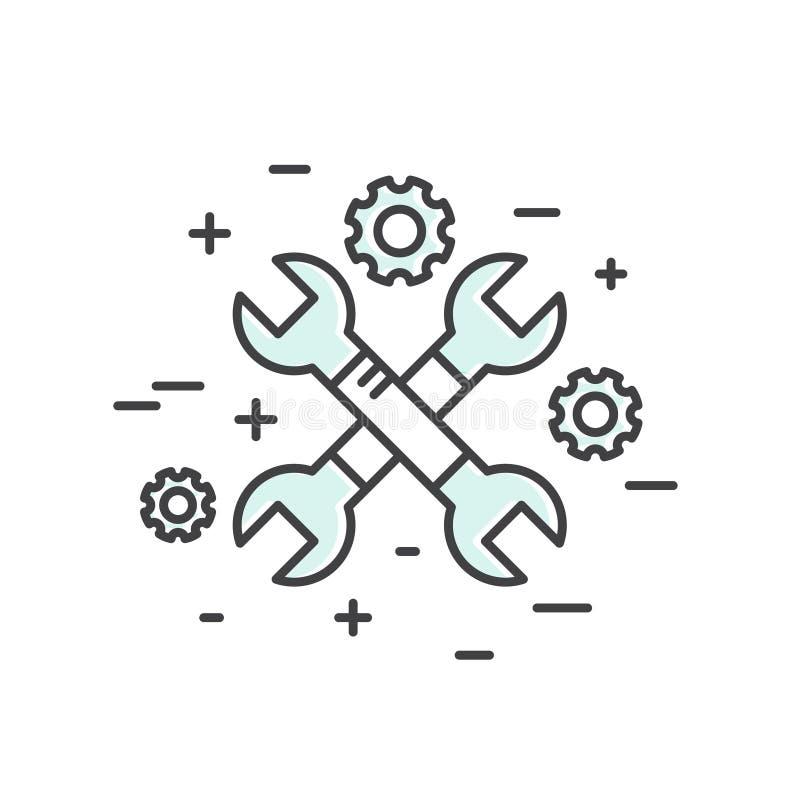 Rengöringsduken, mobilen och den App-utvecklingshjälpmedel och processen, isolerade begrepp stock illustrationer