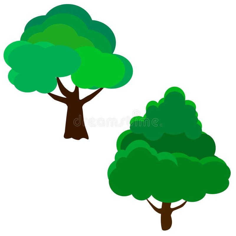 Rengöringsduken ställde in av olika träd för illustrationsköld för 10 eps vektor vektor illustrationer