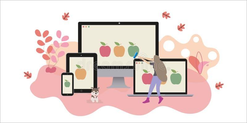 Reng?ringsdukformgivare att skapa den svars- websiten vektor illustrationer