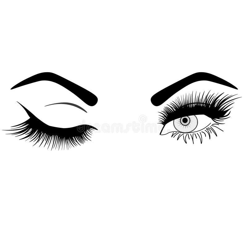 Rengöringsdukkvinnas sexiga lyxiga öga med perfekt formade ögonbryn och fulla snärtar Id? f?r aff?rsbes?kkort, typografi pe royaltyfri illustrationer