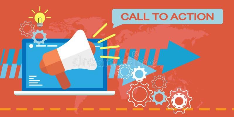 Rengöringsdukmarknadsföring, appell till handling stock illustrationer