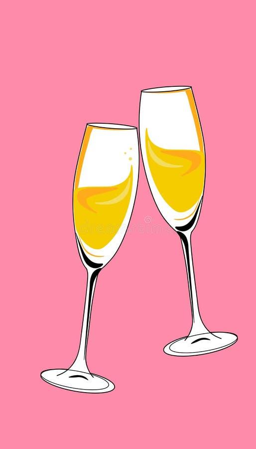 Rengöringsdukpar av champagneexponeringsglasjubel dricker illustrationen för berömjulvektorn stock illustrationer