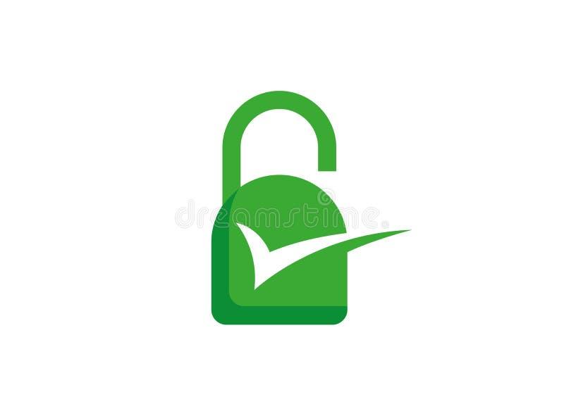 Rengöringsduksäkerhetslås och vakt Icon Logo stock illustrationer