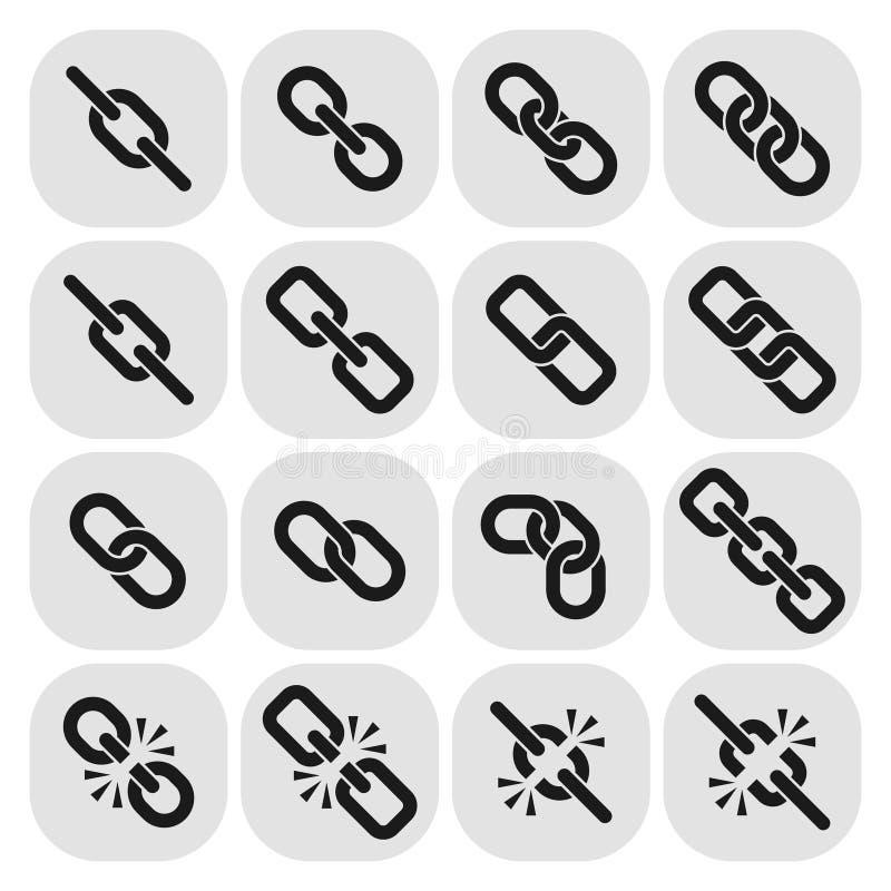 Rengöringsduksammanlänkning, hyperlink, chain vektorsymboler vektor illustrationer