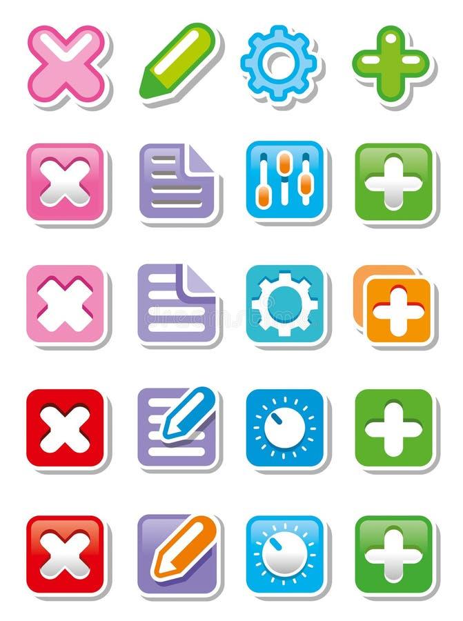 Rengöringsduksymboler eller knappar stock illustrationer
