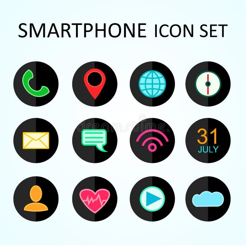 Rengöringsduksymbolsuppsättning för Smartphone, smart klocka, rengöringsduk, internet Vektordesignobjekt Plan design stock illustrationer