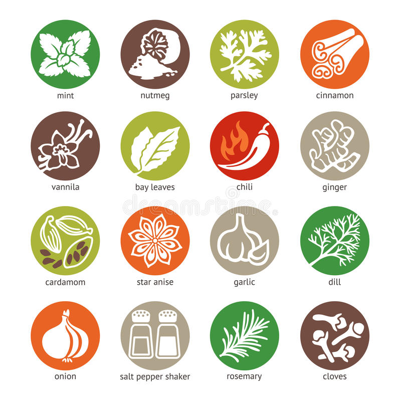 Rengöringsduksymbolsuppsättning - kryddor, smaktillsatser och örter stock illustrationer