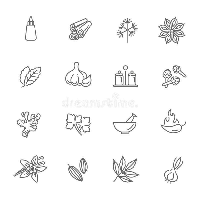Rengöringsduksymbolsuppsättning - kryddor, smaktillsatser och örter royaltyfri illustrationer