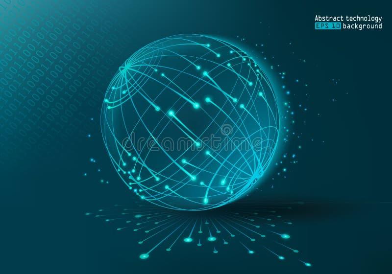 Rengöringsdukteknologi och internet background card congratulation invitation abstrakt planet Futuristisk bakgrund med prickar oc stock illustrationer