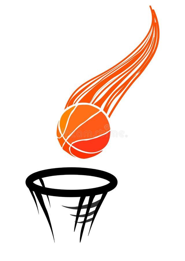 Rengöringsdukvektorillustration av logoen för basket som består av flyg på en banabasketboll som exakt kastas i rien vektor illustrationer