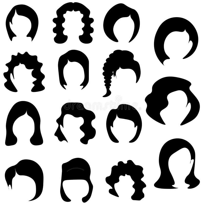 Rengöringsdukvektoruppsättning av den stiliserade logoen med krabba kvinnors frisyrer, samling stock illustrationer