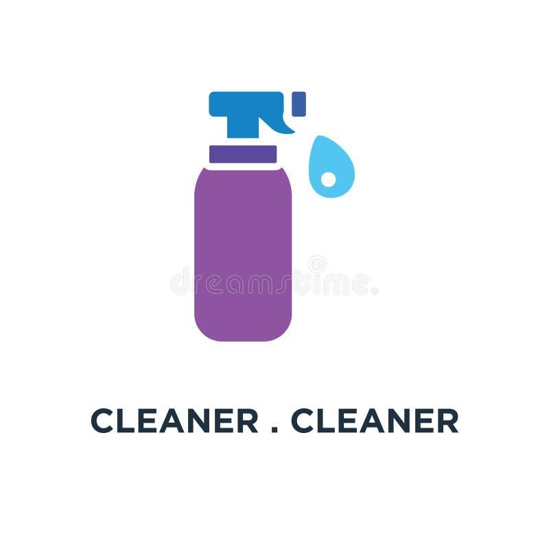 rengöringsmedel mer cleaner symbol bottle spray renande begreppssymbol D stock illustrationer