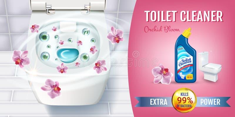 Rengöringsmedlet för orkidédofttoaletten stelnar annonser Realistisk illustration för vektor med bästa sikt av toalettbunken och  royaltyfri illustrationer