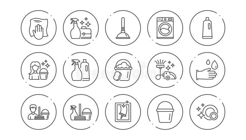 Reng?rande linje symboler Tv?tteri, svamp och dammsugare Linj?r symbolsupps?ttning vektor royaltyfri illustrationer