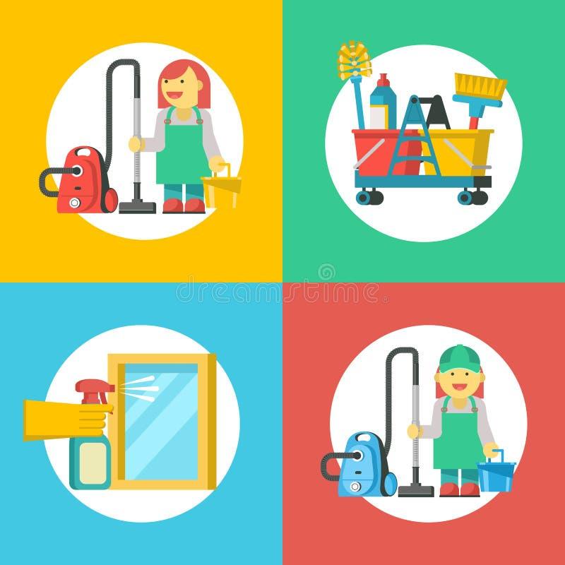 reng?rande service Set av emblems vektor illustrationer