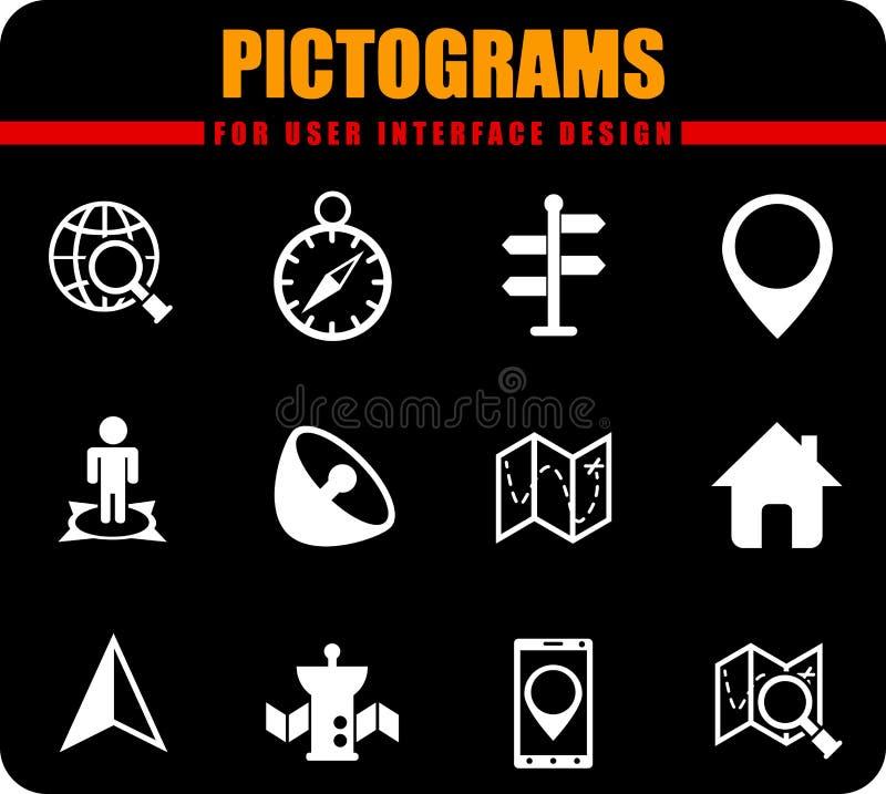 reng?ringsduk f?r vektor f?r olik f?r symbolssymbolsillustration navigering f?r man?verenhet set royaltyfri illustrationer