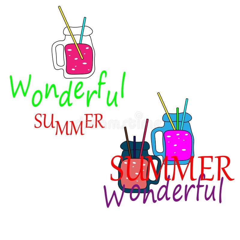 Reng?ringsduk ny sommar f?r coctailar Lemonad- och fruktsaftsamling Drinkar f vektor illustrationer