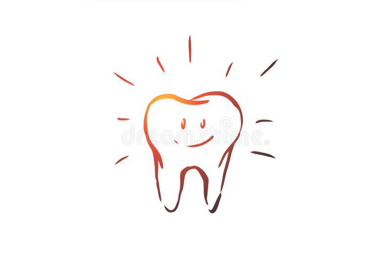 Rengjord tand, omsorg, tand- som är vård-, hygienbegrepp Hand dragen isolerad vektor stock illustrationer