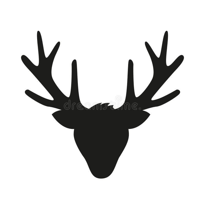 Renhuvud med den stora horn på kronhjortkonturn som isoleras på vit bakgrund royaltyfri illustrationer