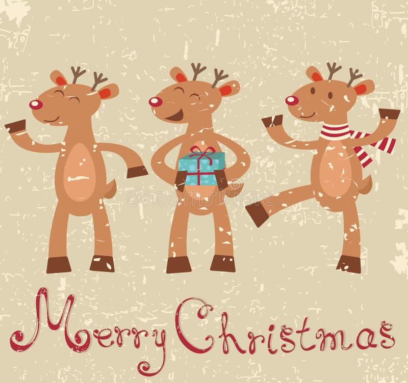 Renifer śliczna Kartka bożonarodzeniowa ilustracji