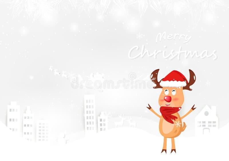 Renifer, śliczna kreskówka, Wesoło bożych narodzeń zimy sezonu pocztówka v royalty ilustracja
