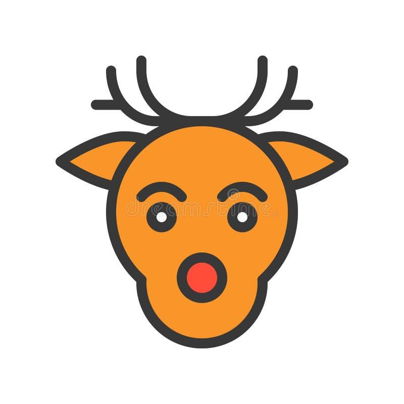 Renifer głowa, Wesoło boże narodzenia odnosić sie ikona set, wypełniający kontur royalty ilustracja