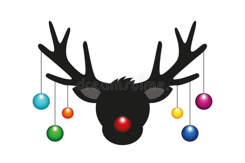 Renifer głowa z kolorowymi choinek piłkami royalty ilustracja