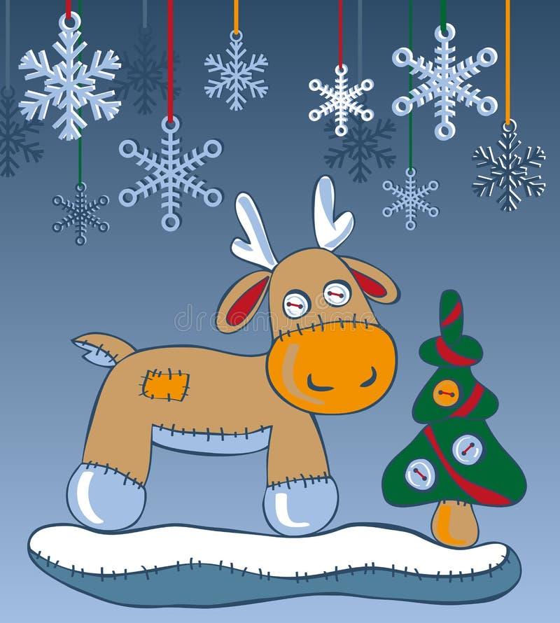 Renifer i płatki śniegu ilustracja wektor