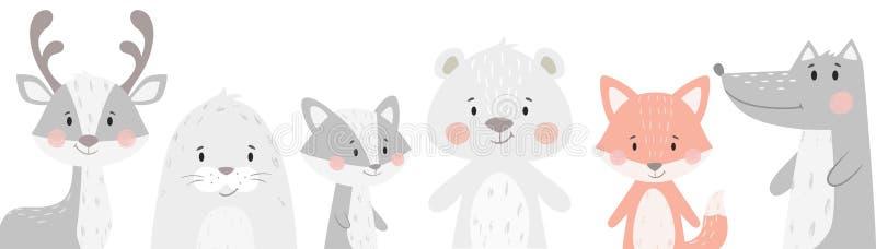 Renifer, szop pracz, foka, wilk, pingwin, niedźwiedź, lisa dziecka zimy set Śliczna zwierzęca ilustracja ilustracji
