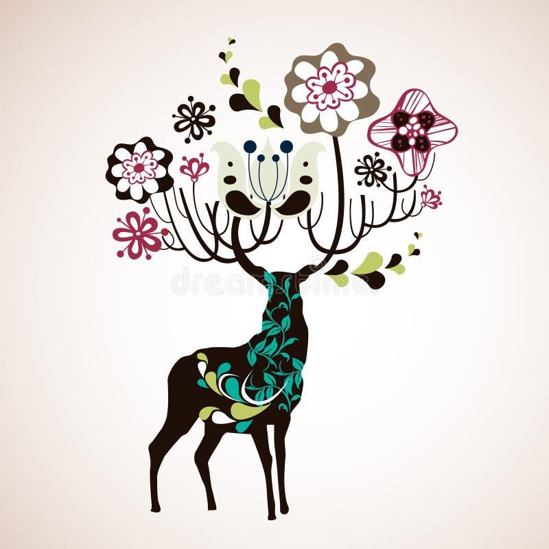 renifer tapeta royalty ilustracja