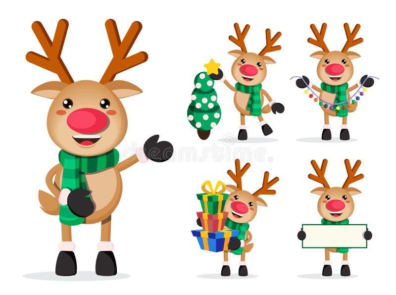 Reniferowi wektorowi charaktery ustawiający Rudolph postać z kreskówki trzyma boże narodzenie elementy ilustracja wektor