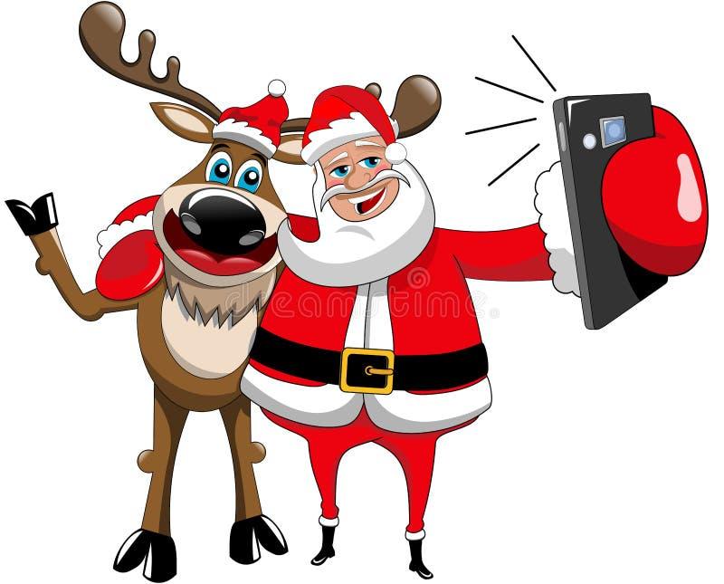 Reniferowy Bożenarodzeniowy Święty Mikołaj Selfie uściśnięcie Odizolowywający