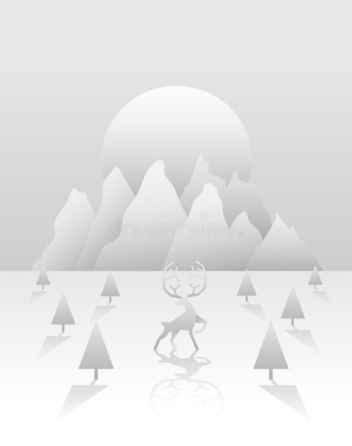 Reniferowy i lasowy wektor w bielu i siwieje royalty ilustracja