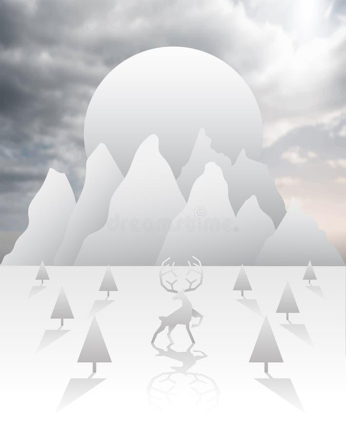Reniferowy i lasowy wektor w bielu i siwieje ilustracji