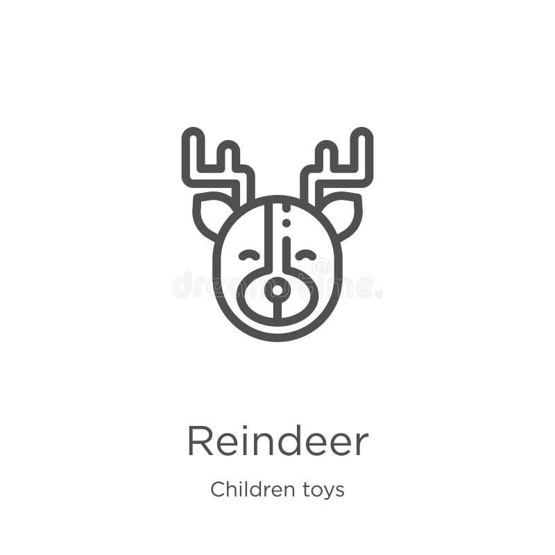 reniferowy ikona wektor od dziecko zabawek inkasowych Cienka kreskowa reniferowa kontur ikony wektoru ilustracja Kontur, cienieje ilustracji