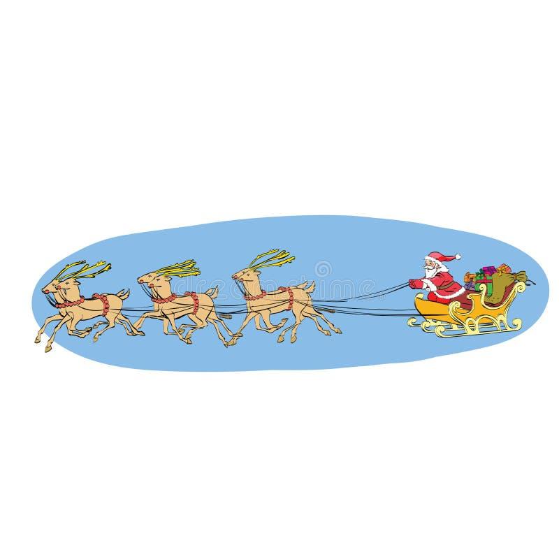 Reniferowy sanie niesie Święty Mikołaj na saniu Boże Narodzenia ilustracja wektor