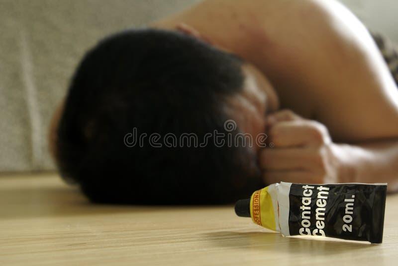 Renifleur mâle de colle sur l'étage photographie stock libre de droits