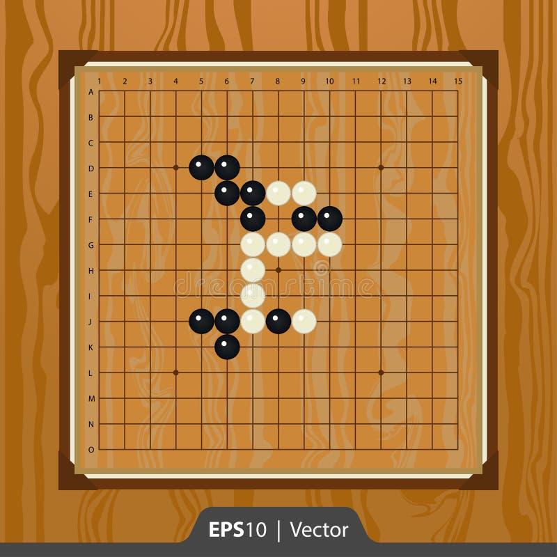 Renju die voor de interfaceontwerp van de spelontwikkeling wordt geplaatst royalty-vrije stock afbeeldingen