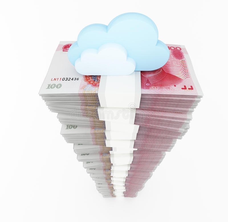 Renminbi stack with blue clouds. Chinese currency stack on white background. 3d rendered illustration stock illustration
