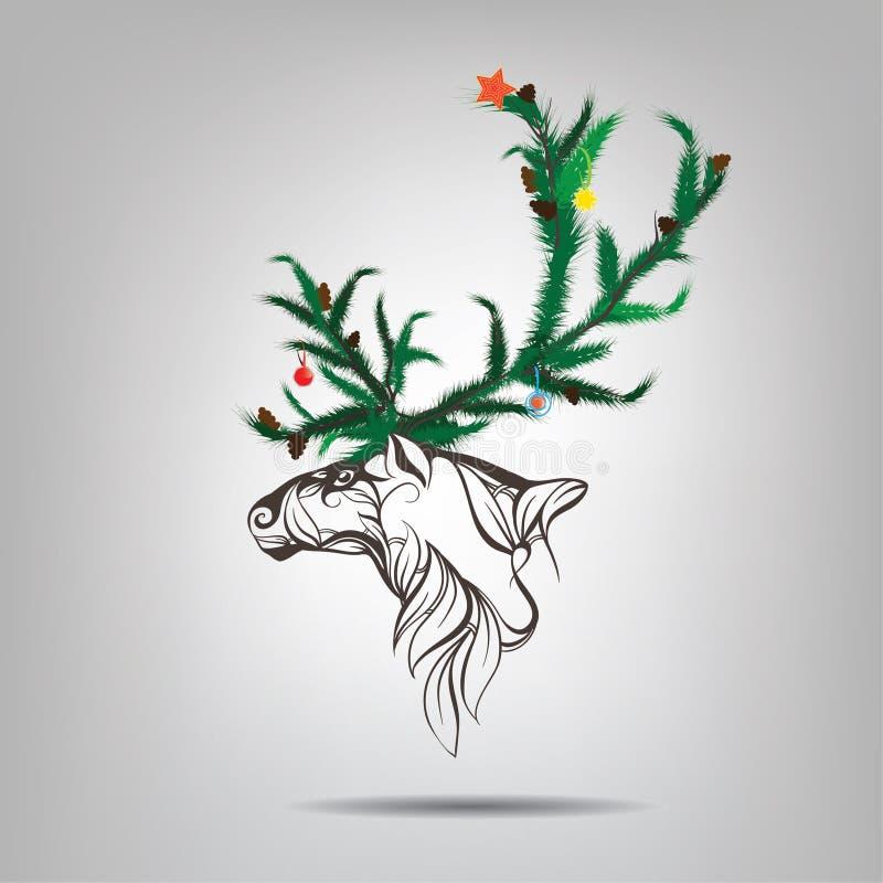 Renna con i corni di un albero di Natale. Illustrazione di vettore illustrazione di stock