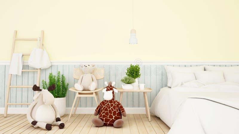 Renna con la bambola dell'orso e della giraffa nella stanza del bambino o nella rappresentazione di bedroom-3D illustrazione di stock