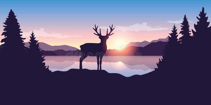 Renna dal lago al paesaggio della natura della fauna selvatica di alba royalty illustrazione gratis