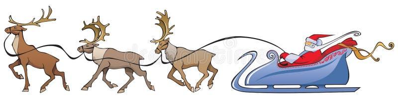 Renna del Babbo Natale che sleighing illustrazione vettoriale