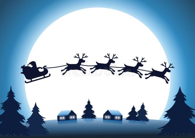 Renna della siluetta con la mosca di Santa Claus sopra il villaggio alla notte illustrazione di stock