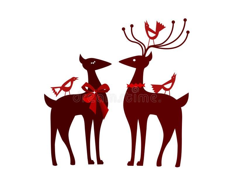 Renna di natale con gli uccelli nordici royalty illustrazione gratis