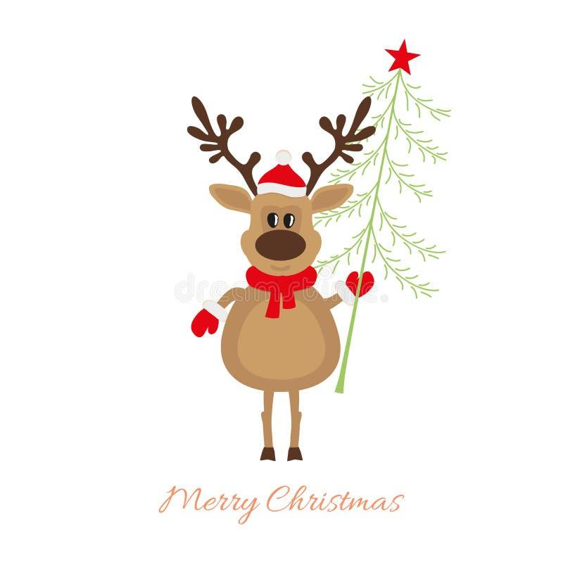 Renna di Natale con l'albero di Natale illustrazione vettoriale