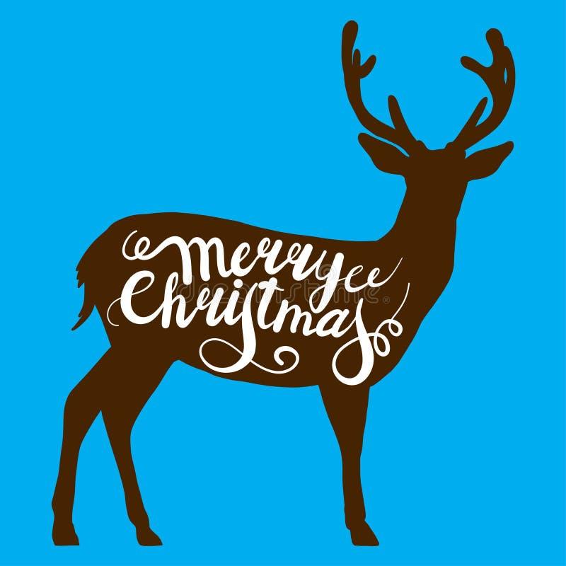 Renna di Natale su fondo blu Vector l'illustrazione dei grafici tracciati di un cervo a disposizione Manifesto del regalo di salu illustrazione vettoriale